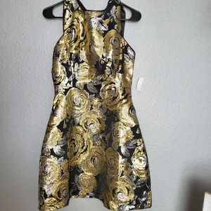 Floral black and gold dress